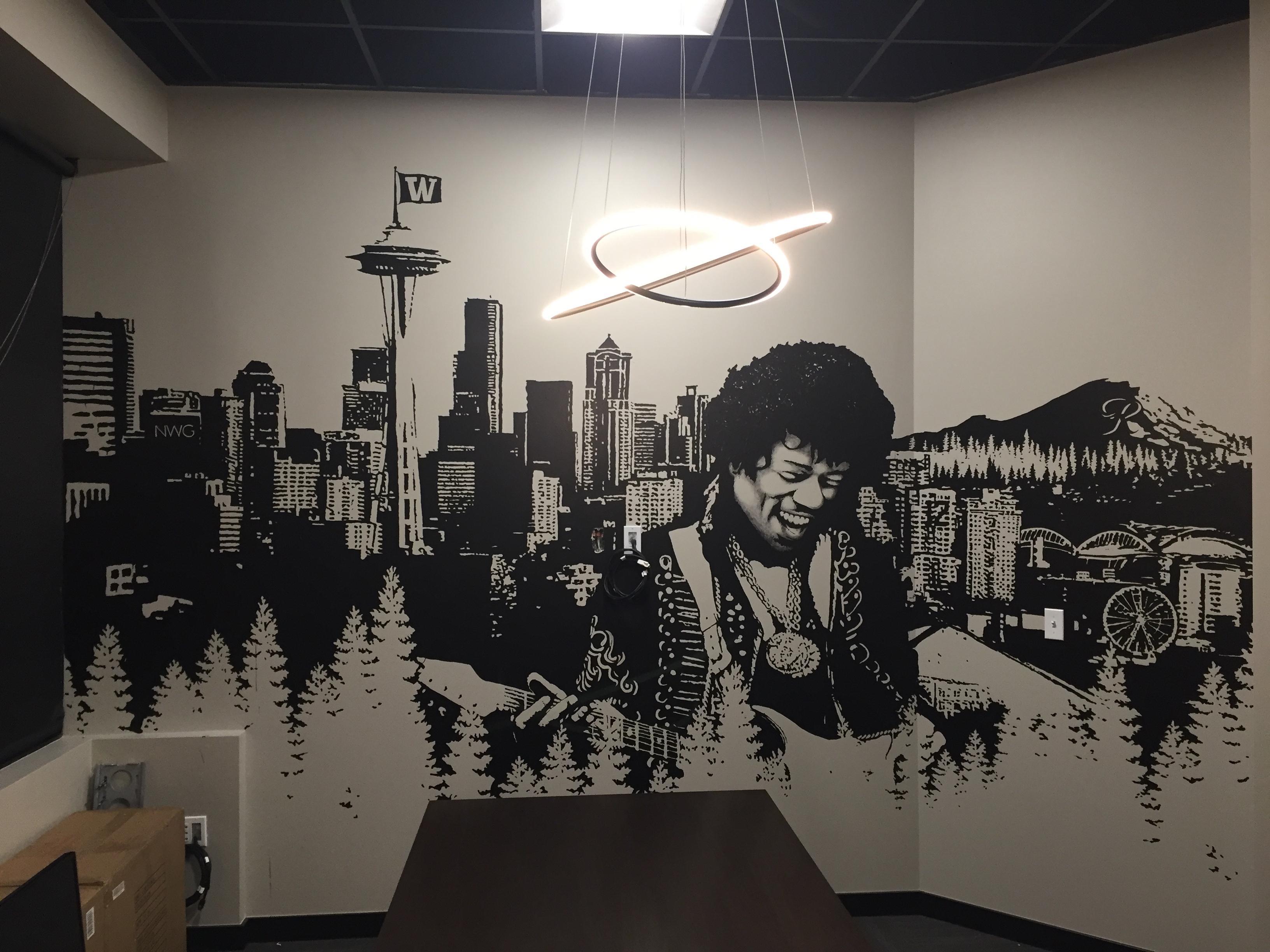 Jimi and Seattle skyline