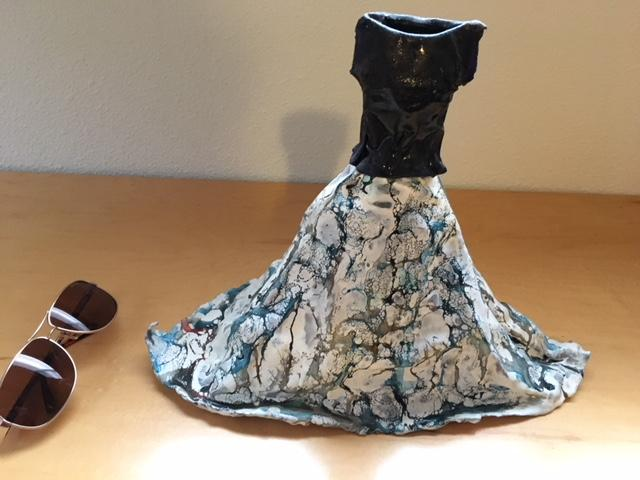 """11"""" high Dress/Gown glassy look but fiberglass, used to be on tiny hanger"""